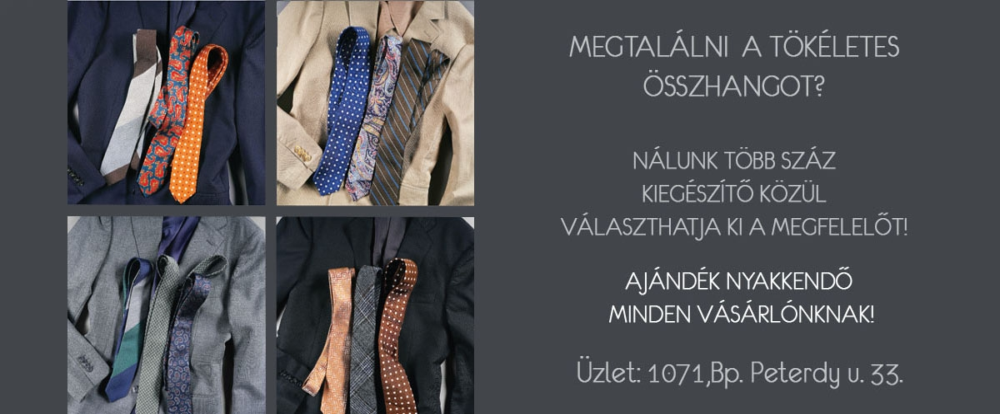 NYAKKENDŐ WEBÁRUHÁZ - elegáns nyakkendők és ingek széles választékban, egyedi nyakkendők készítése