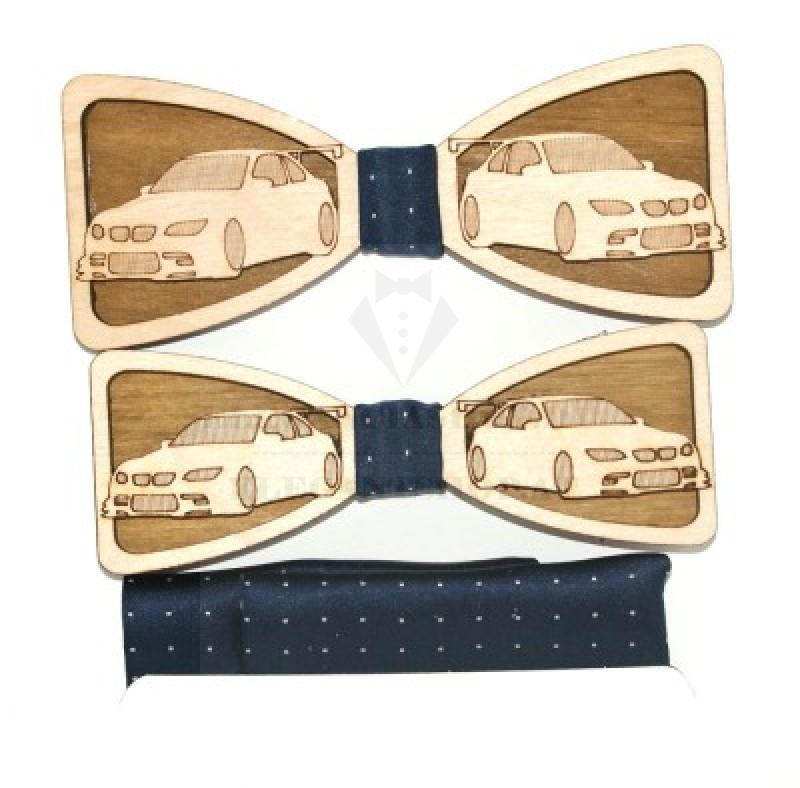 Fa apa-fia csokornyakkendő szett - Autó mintás