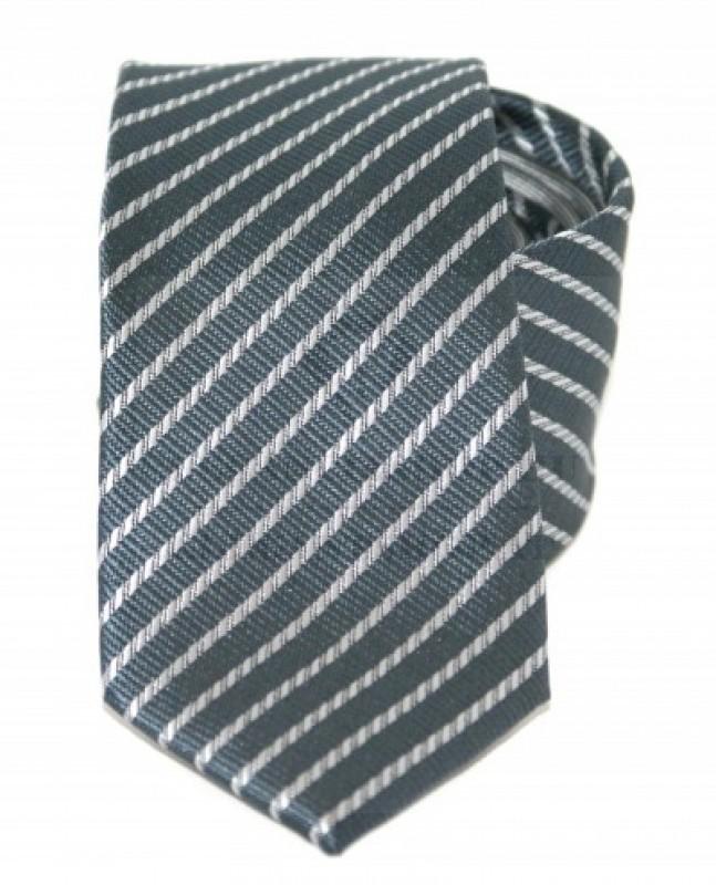 Goldenland slim nyakkendő - Szürke csíkos