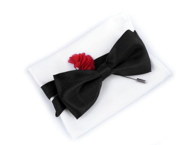 Szatén csokornyakkendő szett - Piros-fekete