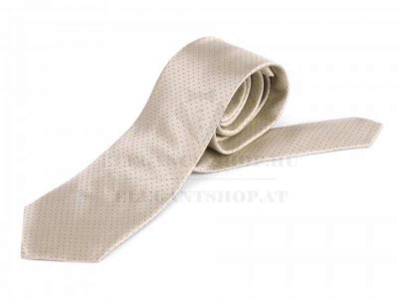 Szatén pöttyös nyakkendő - Ecru