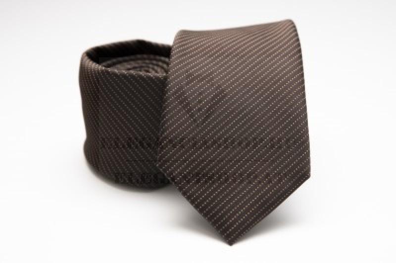 Prémium nyakkendő - Sötétbarna csíkos