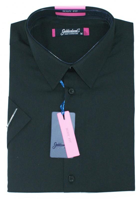 Goldenland body fitt rövidujjú ing - Fekete