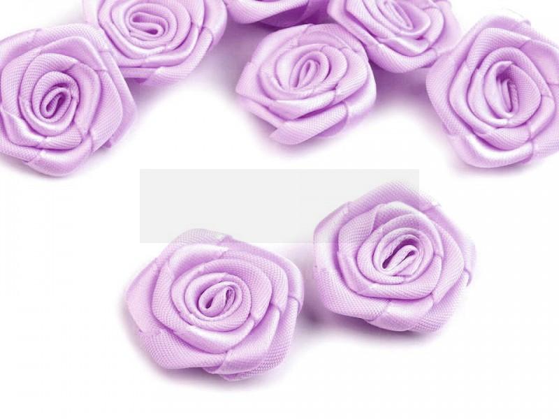 Szatén rózsa 5 db - Halványlila