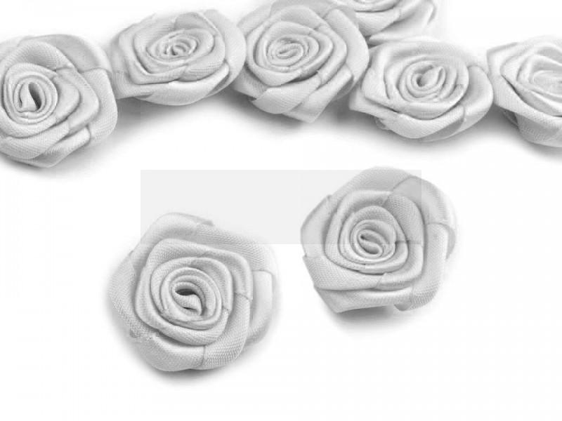 Szatén rózsa 5 db - Ezüst