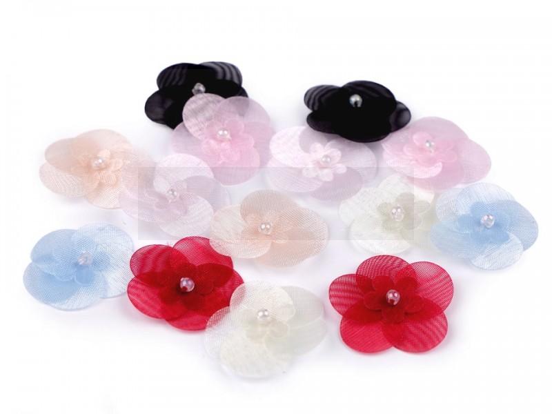 Monofil virág gyönggyel - 10 db/csomag Kitűzők, Brossok