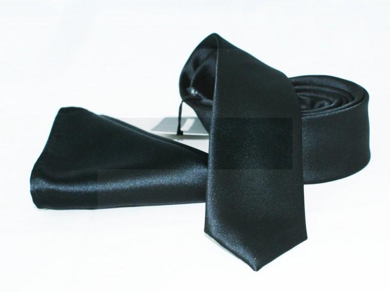 NM szatén nyakkendő szett - Fekete Egyszínű nyakkendő