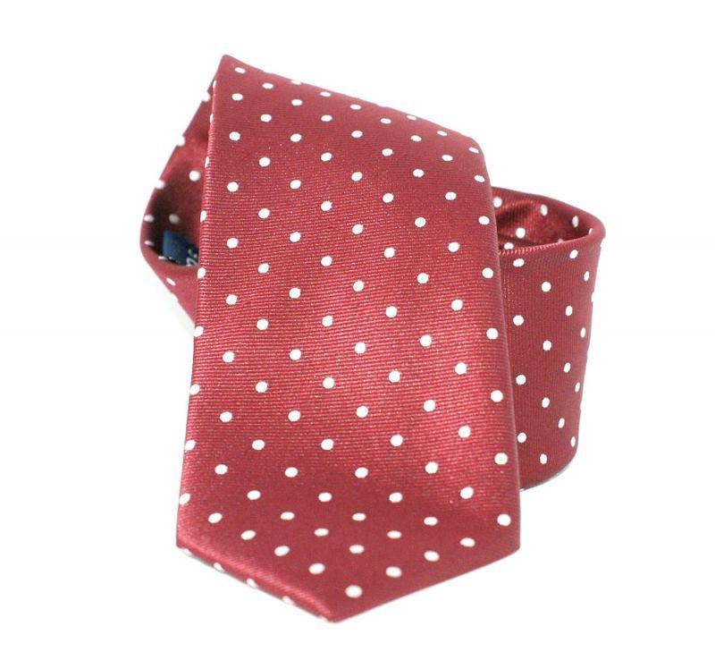 Goldenland slim nyakkendő - Meggybordó pöttyös