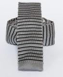 Prémium  kötött nyakkendő - Szürke-fekete csíkos
