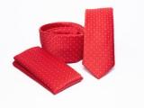 Prémium slim nyakkendő szett - Piros pöttyös