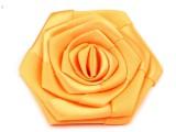Szatén rózsa - Sárga Kitűzők, Brossok
