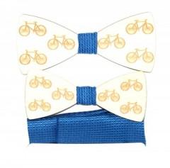 Fa apa-fia csokornyakkendő szett - Bicikli