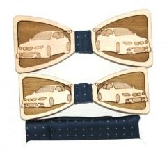 Fa apa-fia csokornyakkendő szett - Autó mintás Különlegesség