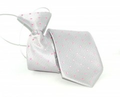 Gumis gyereknyakkendő - Ezüst-rózsaszín pöttyös Gyerek nyakkendők
