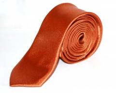 Szatén slim nyakkendő - Rozsdabarna