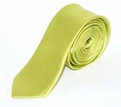 Szatén slim nyakkendő - Limezöld