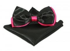 Szatén csokornyakkendő szett - Fekete-pink