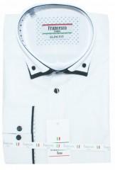 Francesco slim hosszúujjú ing - Fehér-fekete betétes  Slim, Smart fazon