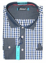 Goldenland extra hosszúujjú ing - Kék kockás Extra méret