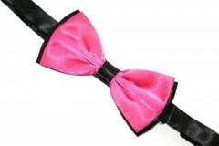 Szatén csokornyakkendő - Fekete-pink