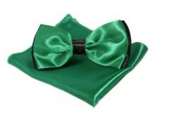Szatén csokornyakkendő szett - Zöld-fekete