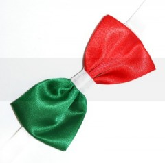 Gyerek szatén csokornyakkendő - Piros-fehér-zöld Csokornyakkendő