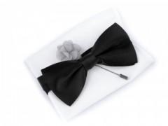 Szatén csokornyakkendő szett - Szürke-fekete Egyszínű
