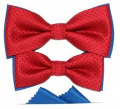 Apa-fia csokornyakkendő szett - Piros pöttyös Csokornyakkendő