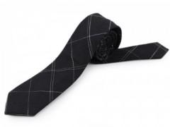 Gyapjú slim nyakkendő - Fekete kockás
