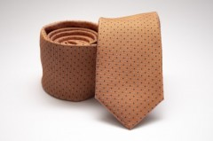 Prémium slim nyakkendő - Aranybarna pöttyös Selyem nyakkendők