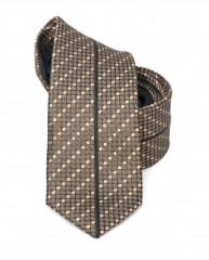 Goldenland slim nyakkendő - Barna aprópöttyös