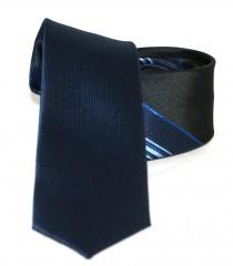Goldenland slim nyakkendő - Fekete-kék csíkos