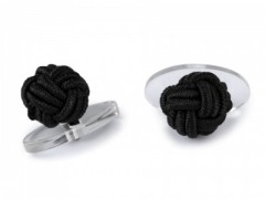 Gumis mandzsetta gomb - Fekete, Fehér
