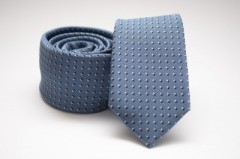 Prémium slim nyakkendő - Acélkék pöttyös Aprómintás nyakkendő