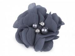 Textil virág - Szürkéskék