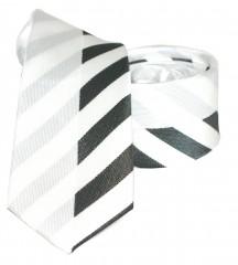 Goldenland slim nyakkendő - Fehér-fekete csíkos