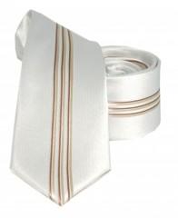 Goldenland slim nyakkendő - Bézs-arany csíkos