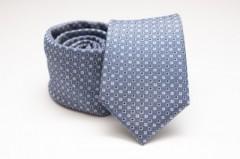 Prémium selyem nyakkendő - Acélkék pöttyös