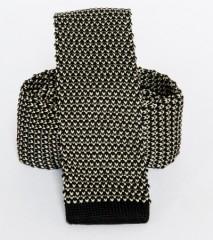 Prémium kötött nyakkendő - Fekete-fehér Kötött nyakkendők