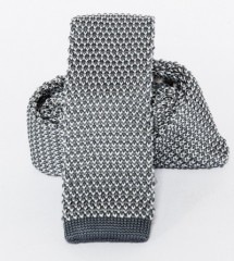 Prémium  kötött nyakkendő - Szürke-fehér Kötött nyakkendők