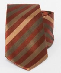 Prémium selyem nyakkendő - Tégla-barna csikos