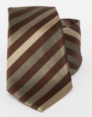 Prémium selyem nyakkendő - Sötétbarna-arany csikos