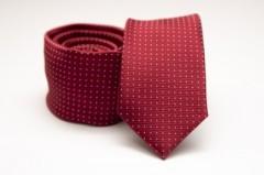 Prémium slim nyakkendő - Meggypiros pöttyös Aprómintás nyakkendő