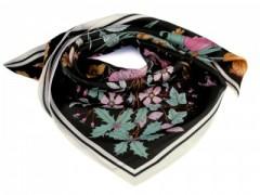 Szatén virágos kendő - Fekete
