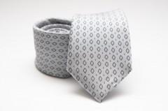 Prémium nyakkendő - Ezüst rombusz mintás