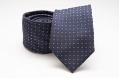 Prémium selyem nyakkendő - Sötétkék pöttyös