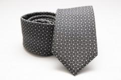Prémium selyem nyakkendő - Sötétszürke pöttyös Selyem nyakkendők