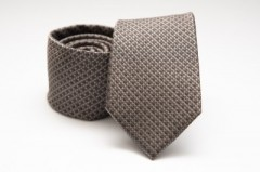 Prémium selyem nyakkendő - Barnásszürke pöttyös