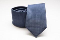 Prémium selyem nyakkendő - Sötétkék kockás
