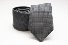 Prémium selyem nyakkendő - Sötétszürke kockás